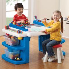 Kids Activity Table Stool Step2 Build Storage Plastic Toddler Furniture  Play Set