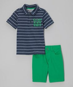 Look what I found on #zulily! Gray Stripe Polo & Green Shorts - Infant, Toddler & Boys #zulilyfinds