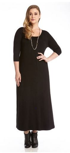 Sexy Black Plus Size 3/4 Sleeve Maxi Dress #Sexy #Black #Plus #Size #Women's #Maxi #Dress #Fall #Winter #Fashion