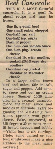 Beef Recipes Recipe Clipping For Beef Casserole Beef Casserole Recipes, Hamburger Casserole, Hamburger Recipes, Ground Beef Recipes, Casserole Dishes, Enchilada Recipes, Hot Dog Sauce, Large Family Meals, Large Families