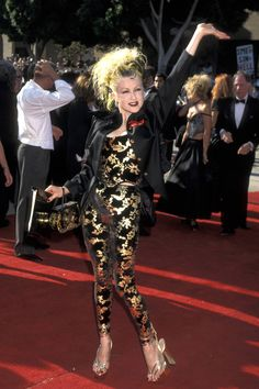 Cyndi Lauper at the Emmys 1995 Punk Rock Fashion, 80s Fashion, Bad Dresses, Sequin Jumpsuit, The Emmys, Cyndi Lauper, Jumpsuit Pattern, Red Carpet Looks, Red Carpet Dresses