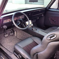 67 nova, ls7 swap. pro touring, black and grey custom seat doors interior tiburon double din console