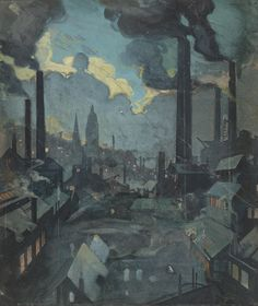 Sylvia Gosse (1881-1968) Industrial skyline at night signed and dated 'Gosse/09' (lower right), gouache, 11⅝ x 9⅞ in. (29.5 x 25 cm.)