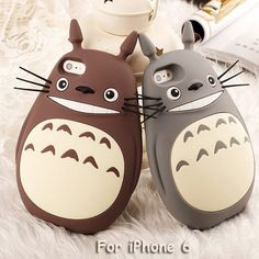 Smiling Tonari no Totoro Rubber Phone Cover Case for iPhone 6 (Gray)
