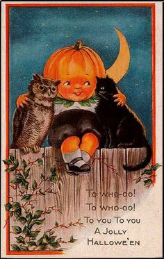vintage halloween card with owl, pumpkin boy & cat. @Marilla O'Brien @ Cupcake Rehab ✔ this reminded me of you!