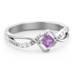 Sterling Silver Solitaire Princess Cut Ring with Twisted Split Shank and Accents and Amethyst Stone   Jewlr