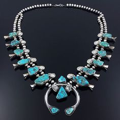 ZUNI STERLING SILVER & TURQUOISE SQUASH BLOSSOM NECKLACE