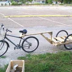 Make a bike trailer from pallets for less than ten dollars.