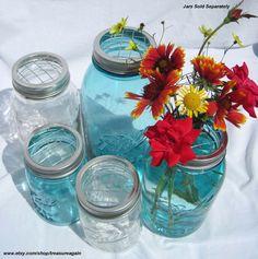 5 Mason Jar Flower Frog Lids Mason Jar Flower Arrangement Wedding Centerpiece, Ball Jar DIY Flowers Garden Flower Vases -No Jars. $15.00, via Etsy.