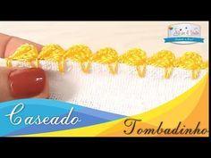 CASEADO TOMBADINHO - AULA 4 - AULA DE CROCHE PASSO A PASSO INICIANTE - CASEADOS EM CROCHÊ - YouTube Knitting Stitches, Knitting Yarn, Embroidery Stitches, Hand Embroidery, Crochet Lace, Free Crochet, Crochet Designs, Crochet Projects, Crochet Edgings