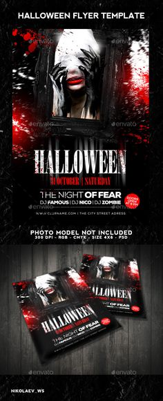 Halloween Party Flyer - autumn, black, blood, club, costume - zombie flyer template