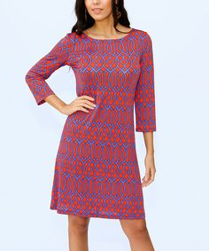 Orange & Blue Geometric Three-Quarter Sleeve Shift Dress