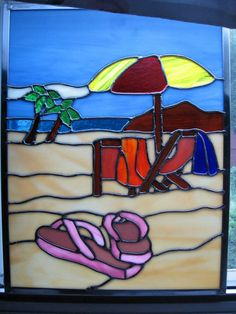 Beach Scene Stained Glass Panel by StainedGlassYourWay on Etsy, $150.00