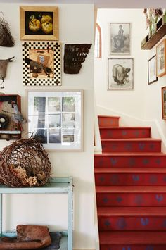 Artist's family home in the Blue Mountains becomes a creative hub Painted Staircases, Wood Basket, Creative Hub, Bright Paintings, Minimalist Home Interior, Farmhouse Style Kitchen, Rustic Farmhouse, Australian Homes, Hanging Wall Art