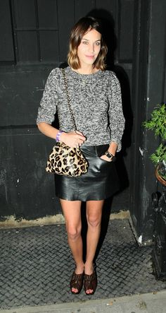 Grey sweater, leather skirt ~ Alexa Chung