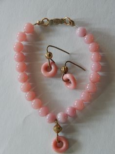 French fashion doll pink glass jewelry. Now available in my Ruby Lane shop: Kim's Doll Gems