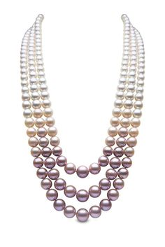 YOKO London three-strand pearl necklace with South Sea, Akoya and natural colour pink freshwater pearls. $50,000.00