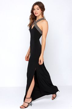 Crossing Paths Black Beaded Maxi Dress at Lulus.com!