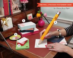 Love love loving this tutorial on the well stocked stationery desk by Cheree Berry! Stationery By / http://chereeberrypaper.com/