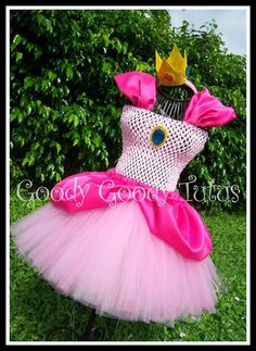 JUST PEACHY Princess Peach Tutu Dress and Crown by goodygoodytutus