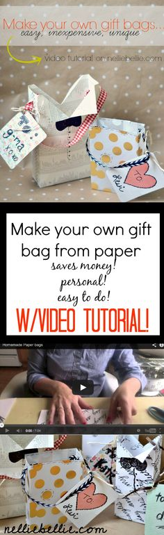 Make your own gift bag out of any kind of paper! A great, personal touch to gifts! Video tutorial...although it's easy!