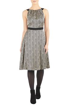 I <3 this Houndstooth print crepe dress from eShakti