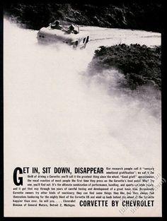 1962 Chevrolet Corvette car dirt road photo Get In Sit Down Disappear print ad
