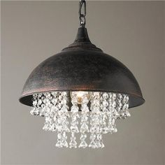 ENTRY and/or 2 in KITCHEN Metal Dome Pendant with Crystals