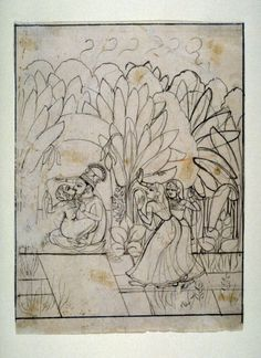 Krishna and Radha Embracing in a Bower. Brush And Watercolor On Laid Paper, India, ca. 1770–1790, seated couple (Radha and Krishna) making love in a garden setting, two women peeking at them through the banana leaves