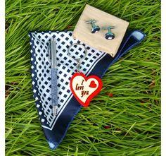 Love Key Chain with Marbel Print Pen and Cufflinks Handkerchief Combo