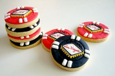 Poker-chip Cookies, by L Sweets; perfect for Casino Night-themed party #money #poker