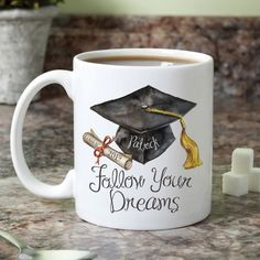 Pay tribute to a special graduate with this personalized mug that holds up to of their favorite beverage. Shipping note: This item will be personalized just for you. Graduation Gifts For Daughter, Graduation Presents, College Graduation Gifts, Grad Gifts, Graduation Ideas, Personalized Graduation Gifts, Graduation Quotes, Heart Mirror, Customised Mugs