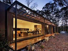 Rustic and yet modern at the same time Musk Prefab Cabin by Modscape (via Lunchbox Architect). The little cabin is the perfect secluded spot for some R&R Prefab Cabins, Prefabricated Houses, Prefab Homes, Cabin Design, House Design, Small Modular Homes, Container Homes Australia, Casas Containers, Building Systems