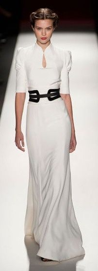 Alberta Ferretti at Milan Fashion Week Fall 2013 I love this! Sleek lines, elbow-length sleeves, perfect T4 belt, bright white long dress.