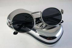 Hi Tek Round Silve Metal Spring Temples Steampunk Unusual Sunglasses Techno Rock | eBay