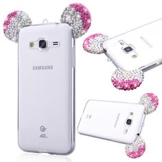 Coque for Samsung Galaxy J3 J5 A3 A5 2016 S5 cases cute Glitter Rhinestone 3D Mickey Mouse Ear Design Soft Transparent Shell