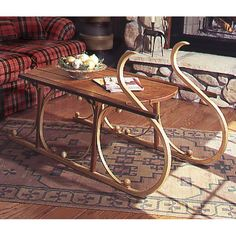 Buy Woodworking Project Paper Plan to Build Yuletide Sleigh Coffee Table at Woodcraft.com