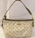 discount COACH Madison Op Lurex Demi Light Khaki Beige/Brown Top Handle Handbag 46659 - #purses #handbags -   Luminous, leather-trimmed signature jacquard seems to glow from within on a compact new top-handle with an elegantly enameled signature plaque and th