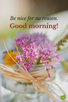 Be nice for no reason. Good Morning.
