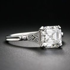 Asscher-Cut Diamond Engagement Ring - Vintage Engagement Rings - If you love this Asscher-Cut Diamond Ring, check out our available Asscher-Cut Diamond Rings here - Asscher Cut Diamond Engagement Ring, Diamond Wedding Bands, Diamond Rings, Diamond Cuts, Solitaire Rings, Diamond Jewelry, Jewelry Rings, Halo Diamond, Shop Engagement Rings