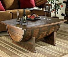crafts made with wheel barrel | Wine barrel coffee table