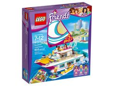 Take a luxury vacation on the LEGO Friends Catamaran and enjoy the pool on deck. Make friends with the dolphins as they swim alongside the catamaran. LEGO Friends Sunshine Catamaran does not float on water. Toys R Us, Lego Ninjago, Legos, Lego Friends Sets, Lego Mindstorms, Below Deck, Toy R, Buy Lego, Little Tikes