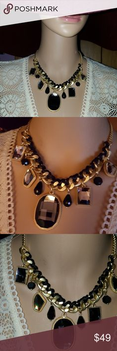Park lane black crystal nacklace. Park Lane black  crystal nacklace. Gold chain with silk cord. 3 I ch extender  NWT. Park Lane Jewelry Necklaces