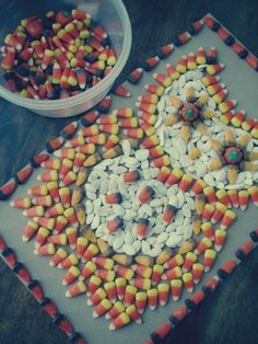 My daughter and I made an owl out of candy corn and pumpkin seeds.  :)