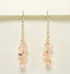 Light Peach Crystal Bridesmaid Earrrings - Bridesmaid Earrings - Beth Devine Designs