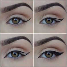 Winged Eyeliner Tricks, Khol Eyeliner, Perfect Winged Eyeliner, Winged Eyeliner Tutorial, Eyeliner For Beginners, Eye Liner Tricks, How To Apply Eyeliner, Winged Liner, Black Eyeliner