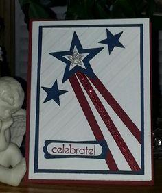 Love the look of the stripe folder at an angle.  This makes a great 4th of July card