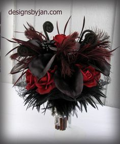 Goth Wedding Bouquet Real Touch Flowers by silkbouquetsbyjan, $145.00