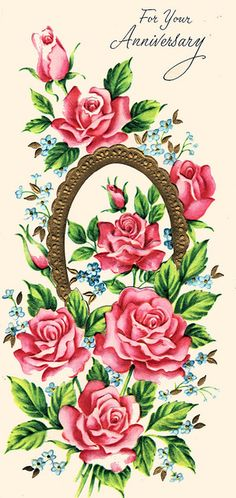 Beautiful vintage rose bouquet illustrated anniversary card. #vintage #1960s #cards #anniversary