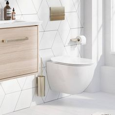 Shop for Crosswater Glide II Wall Hung Rimless Gloss White Toilet & Soft Close Seat - Projection with amazing discounts and free delivery on orders over Here at Drench! Wall Mounted Sink, Wall Mounted Toilet, Wall Mounted Vanity, Floating Toilet, Tankless Toilet, Guest Toilet, Small Toilet, Downstairs Toilet, Concealed Cistern